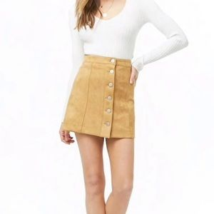 Forever 21 Faux Suede Tan Mini Skirt Small Mod